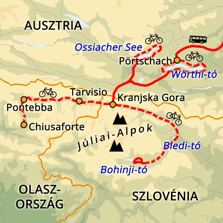 Kerékpáros Hétvége Három Országban Ausztria, Olaszország, Szlovénia #mapImageWidget
