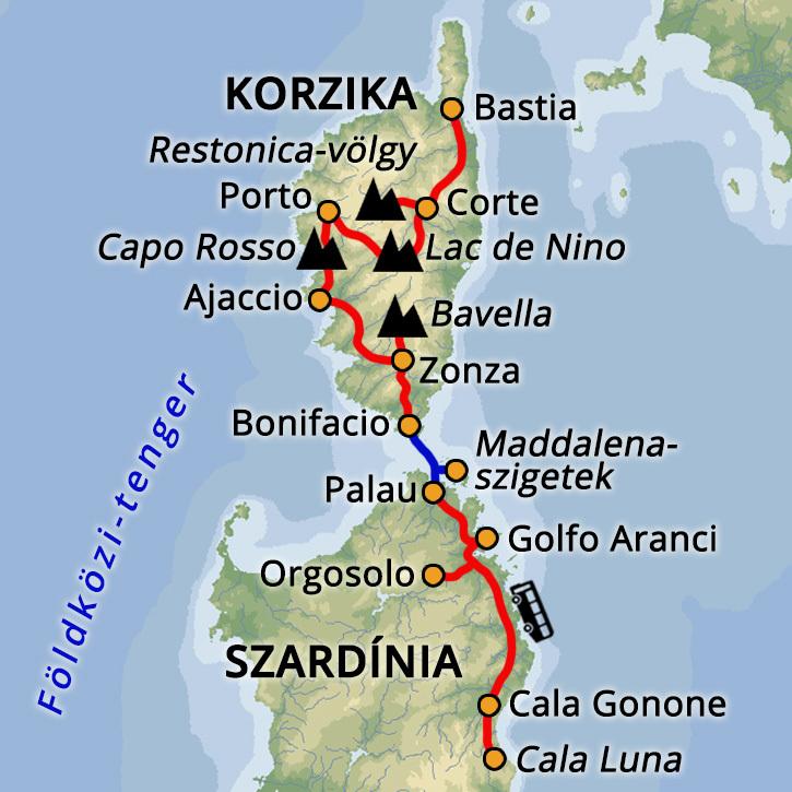 Szardínia és Korzika Szardínia, Korzika #mapImageWidget