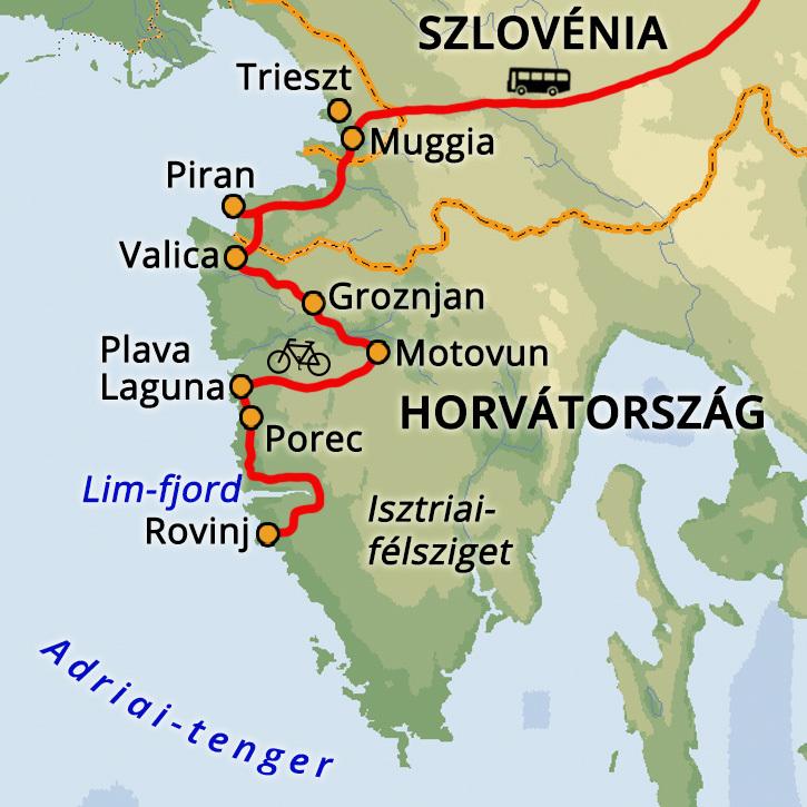 Parenzana kerékpártúra Szlovénia, Olaszország, Horvátország #mapImageWidget