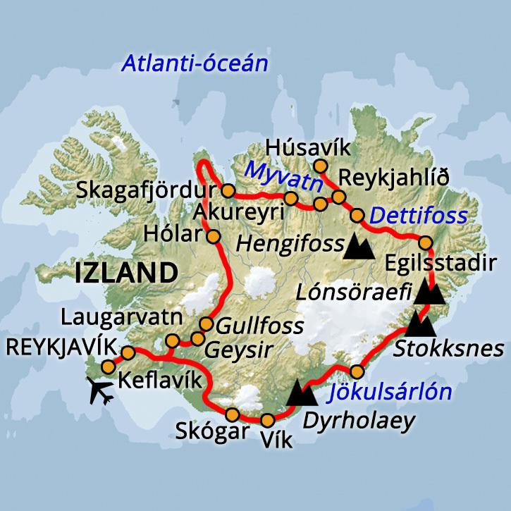 Izland Körutazás - Partvidék Izland Teljes Körút #mapImageWidget