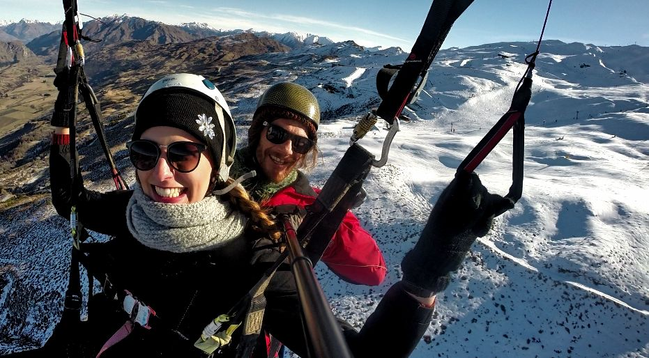 Winter Paragliding Summit Take off Instructional Queenstown, New Zealand