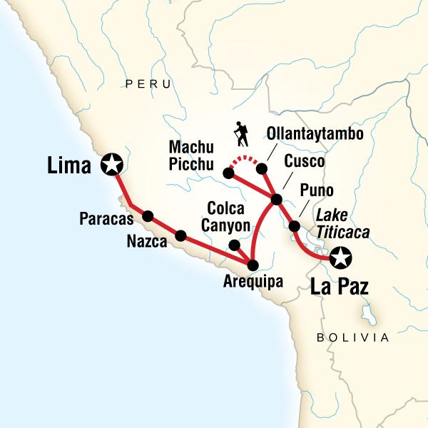 Andean Discovery (Northbound) Machu Picchu, Titicaca, Peru, Bolivia #mapImageWidget