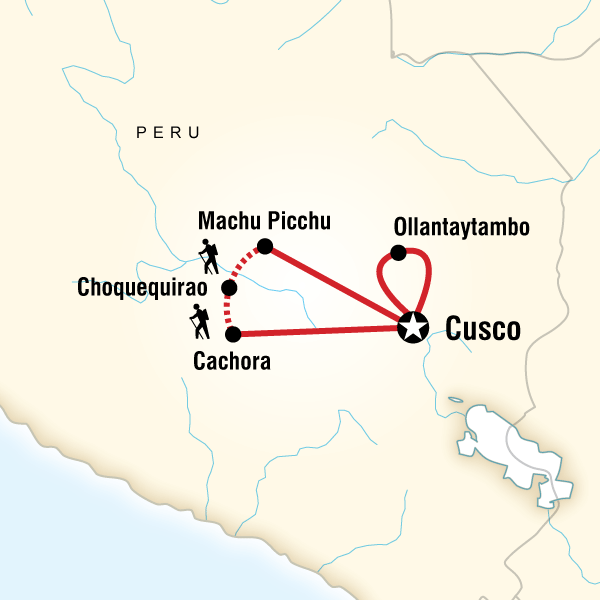 Choquequirao to Machu Picchu Trekking Machu Picchu, Choquequirao, Peru #mapImageWidget