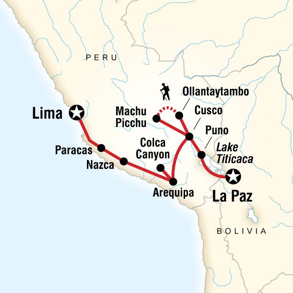 Andean Discovery (Southbound) Machu Picchu, Inca Trail, Peru #mapImageWidget