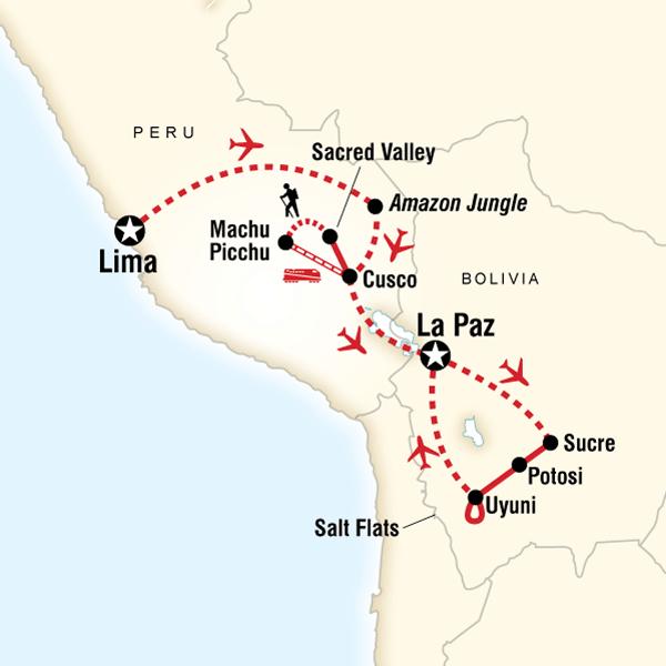 Machu Picchu to the Salt Flats Machu Picchu, Inca Trail, Peru, Bolivia #mapImageWidget