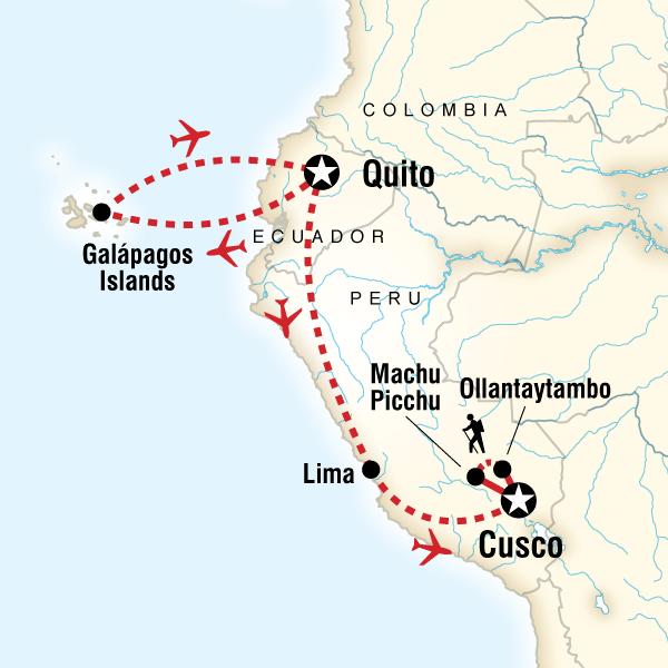 Galápagos Central Islands & Inca Discovery Ecuador, Machu Picchu, Peru #mapImageWidget
