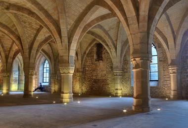 arches in the medieval crypt of the palais du tau