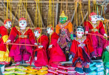 Puppets in a street market in Bagan, Myanmar