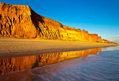 View of the golden sands of Falesia Beach in the Algarve