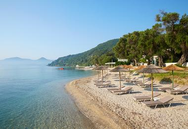 The private beach at the MarBella Hotel