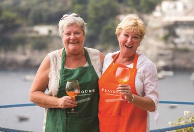 Guests tasting wine on a Flavours Holidays trip