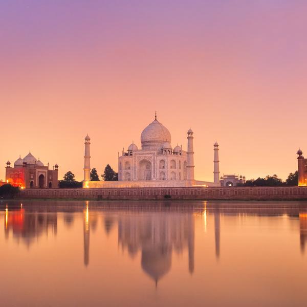 Taj Mahal at sunset in Agra