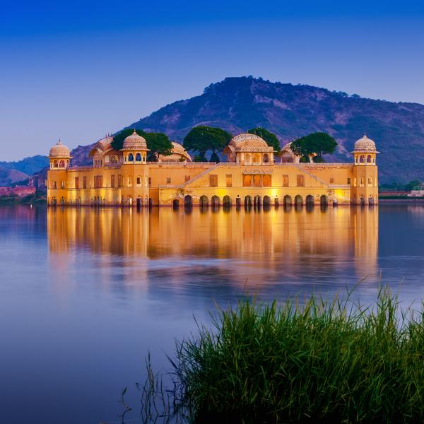 The palace Jal Mahal at night Jaipur, Rajasthan, India