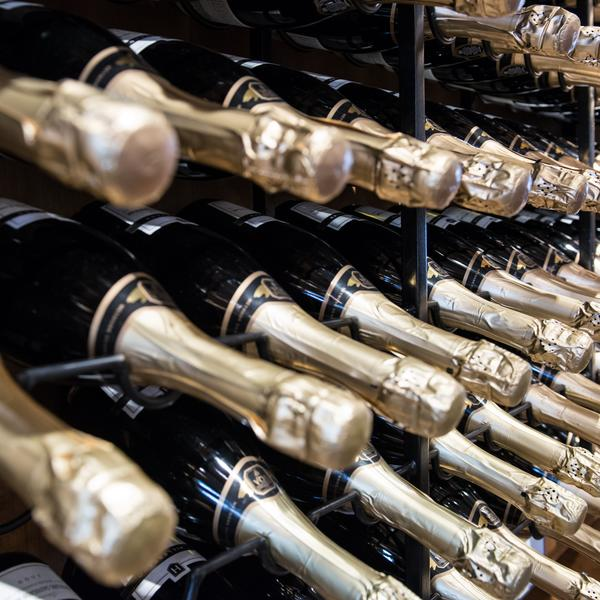 bottles of champagne in cellar