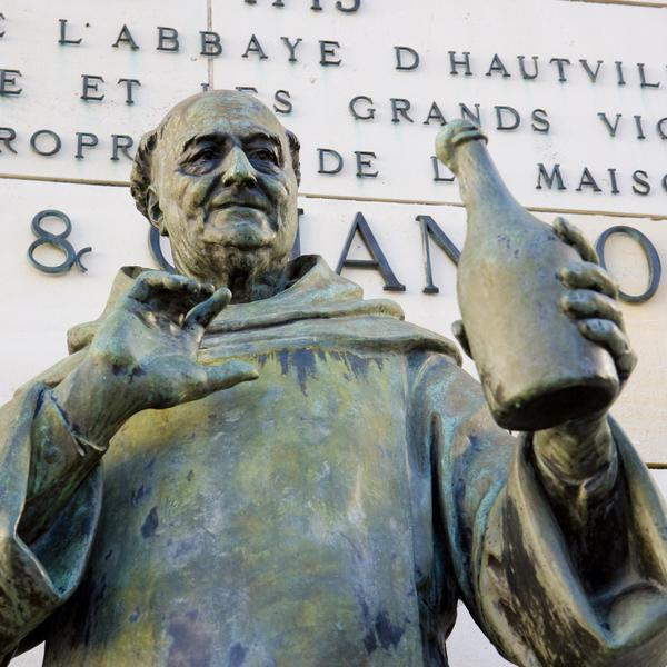 Dom Perignon statue, Epernay, Champagne Region, France