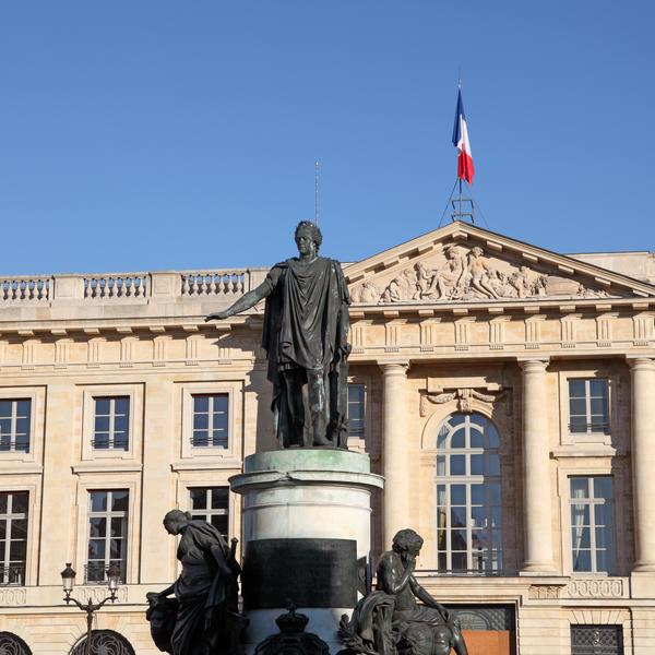 Statue in the city of Reims. Champagne region, France