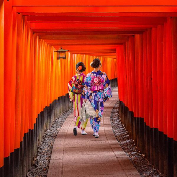 Geisha at the Fushimi Inari Shrine in Japan
