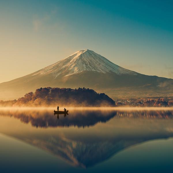 Mount Fuji and Lake Kawaguchiko in Japan