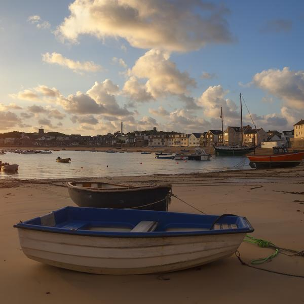 Scilly Isles harbour at sunset
