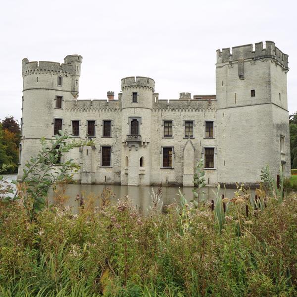 Ruins of castle in the Meise Botanic garden Belgium