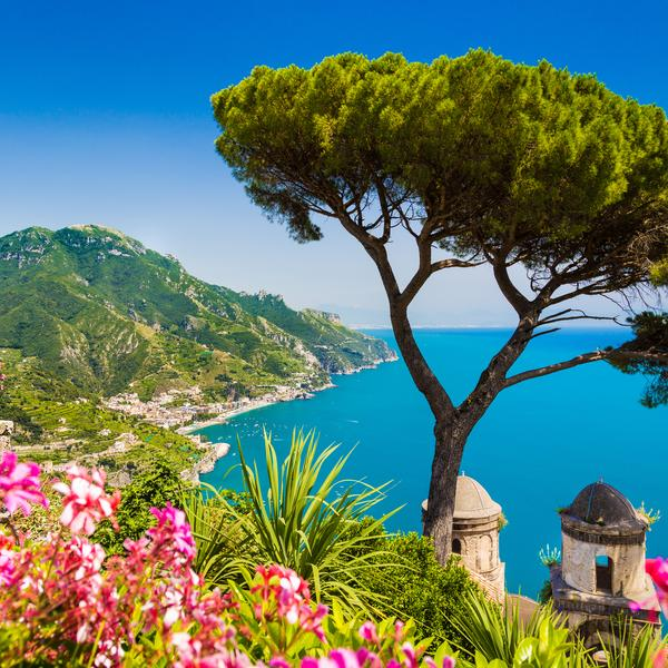 Scenic view of famous Amalfi Coast with Gulf of Salerno from Villa Rufolo gardens in Ravello, Campania, Italy