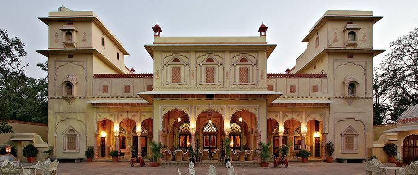 a view of the exterior of the heritage Narain Niwas Palace Hotel in Jaipur