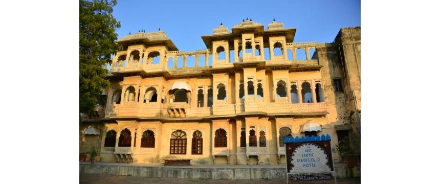 The exterior of Ravla Khempur, the Exotic Marigold Hotel in Rajasthan