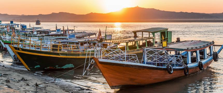 Sunset over the Irrawaddy river in Myanmar