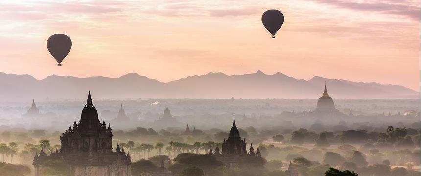 Balloons over Bagan in Myanmar