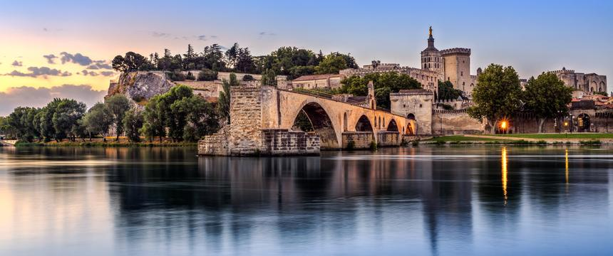 Avignon Bridge at sunset