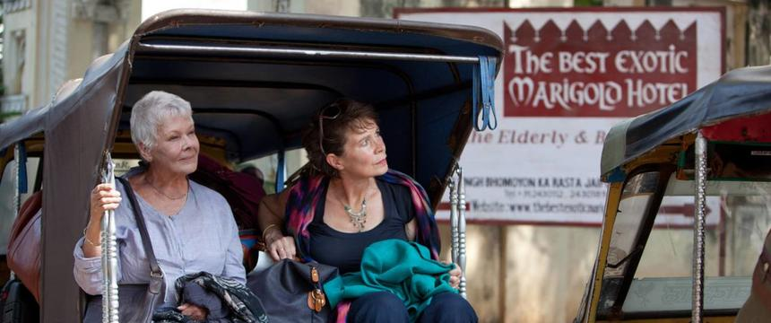 Judi Dench and Celia Imrie pull up outside The Best Exotic Marigold Hotel in a scene from the film