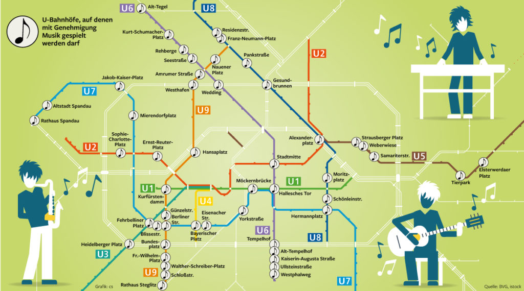 Map of the Berlin subway system which marks spots that allow busking