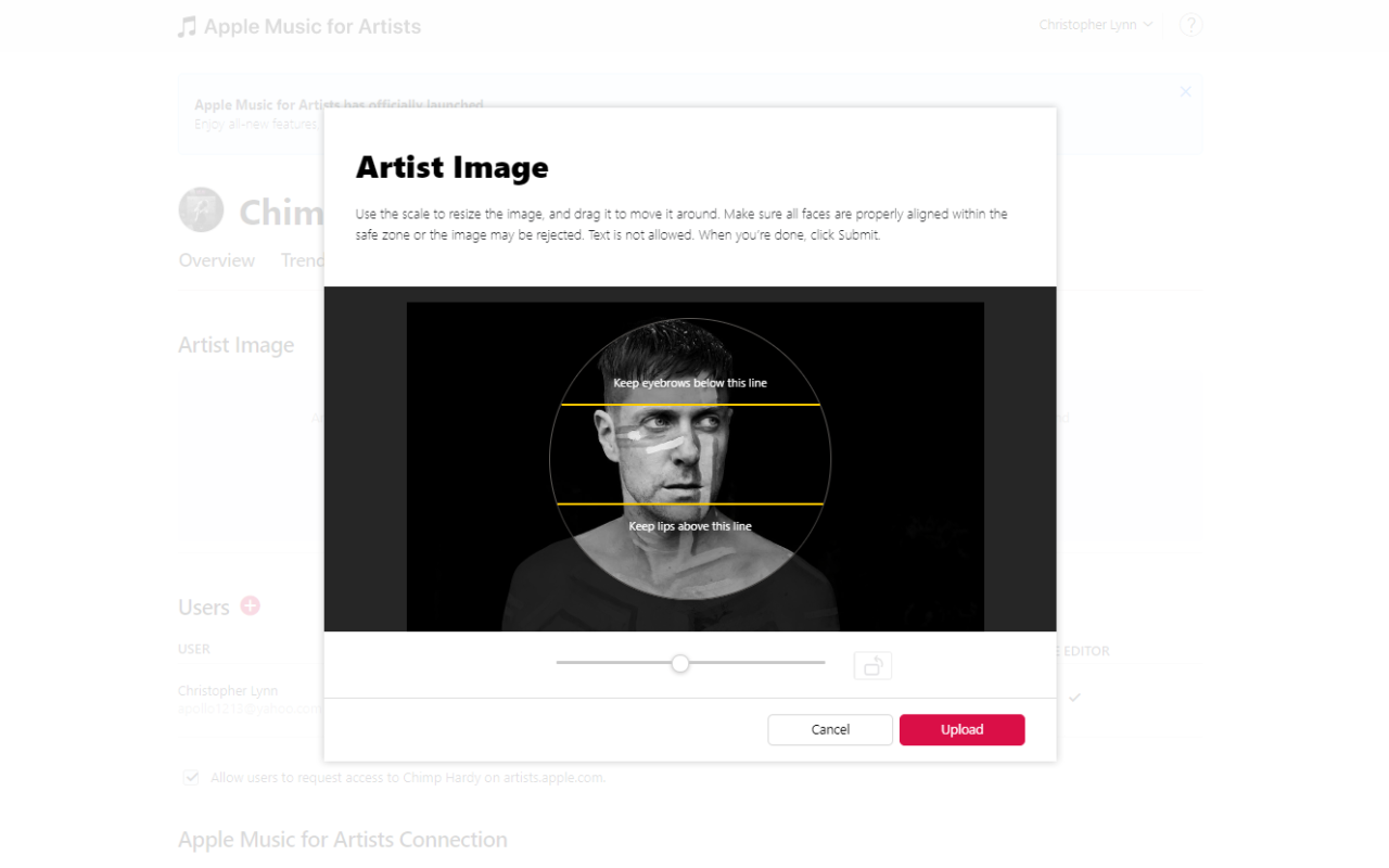 Apple Music dashboard for changing the artist image showing artist Chimp Hardy