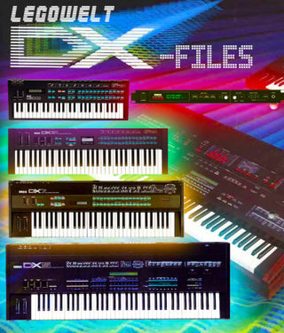 Legowelt DX-Files ad which shows four different synthesizers on a rainbow colored background