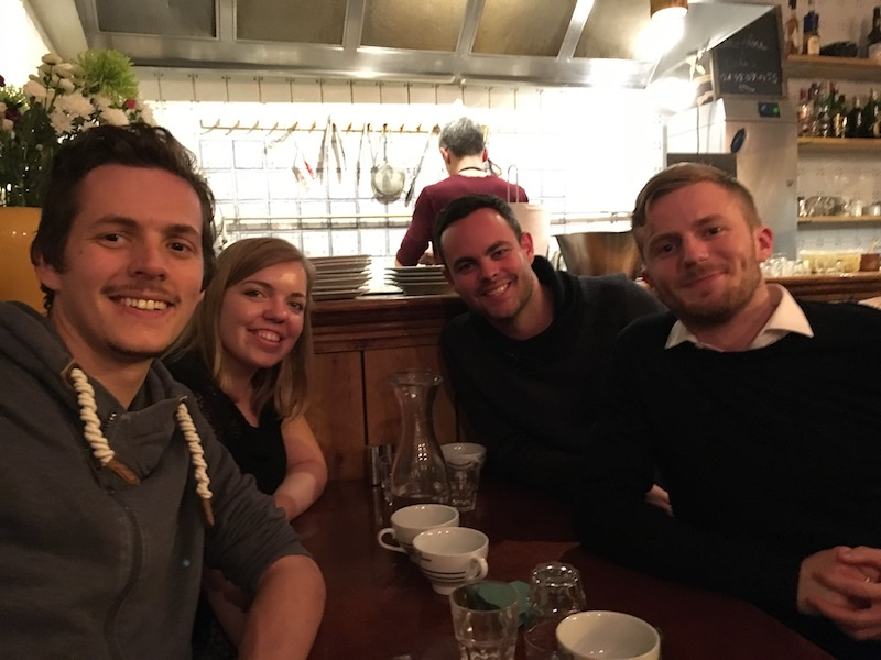 Emma, Guillaume, Pierre and Mathieu enjoying a founders' dinner