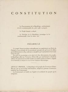 Extrait du préambule de la Constitution française