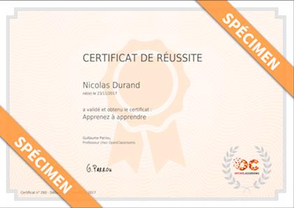 Exemple de certificat de réussite à valoriser auprès de votre réseau