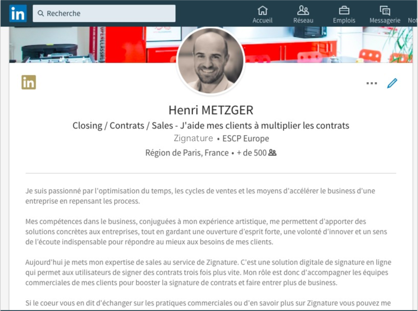 exemple de mon profil Linkedin Zignature