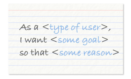 User stories should be expressed in this format