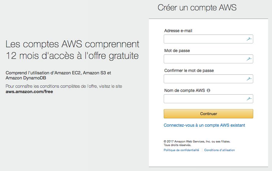 Le formulaire d'inscription AWS