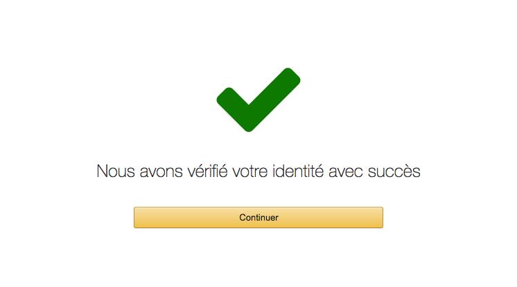 La validation d'identité par téléphone a fonctionné