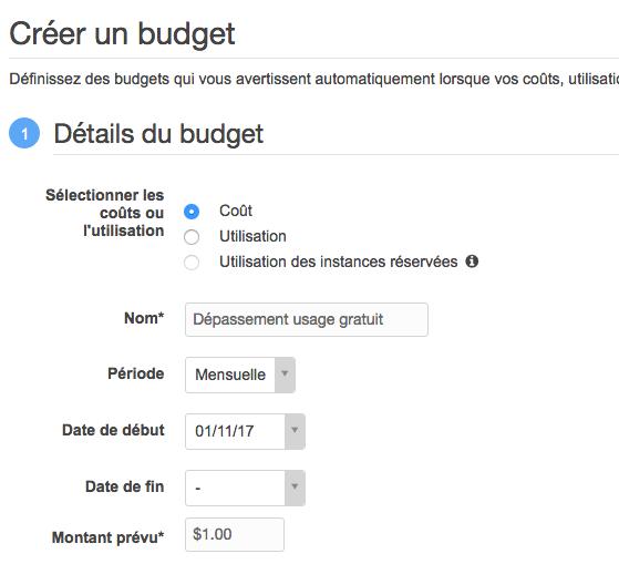 Configuration du budget