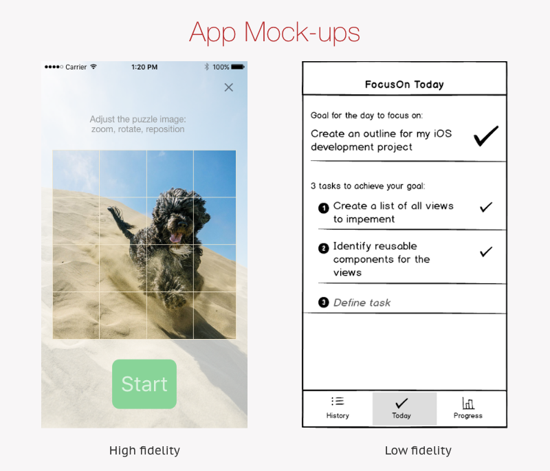 Example of high and low fidelity mockups