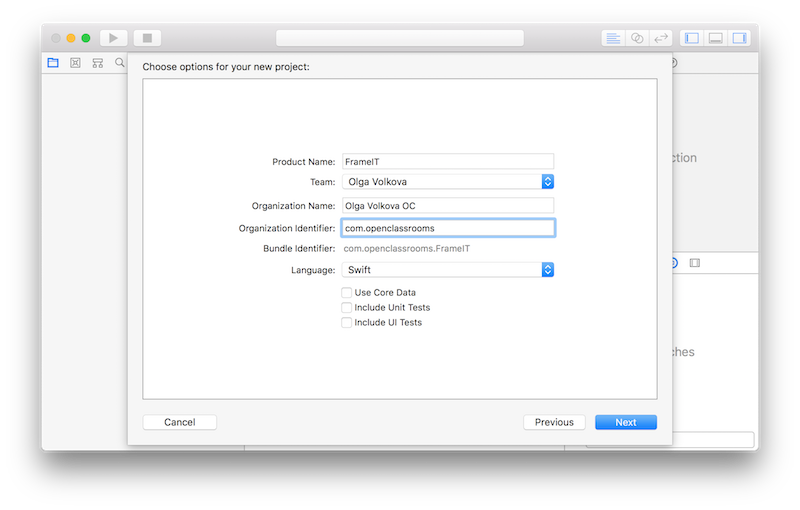 Initial app configuration