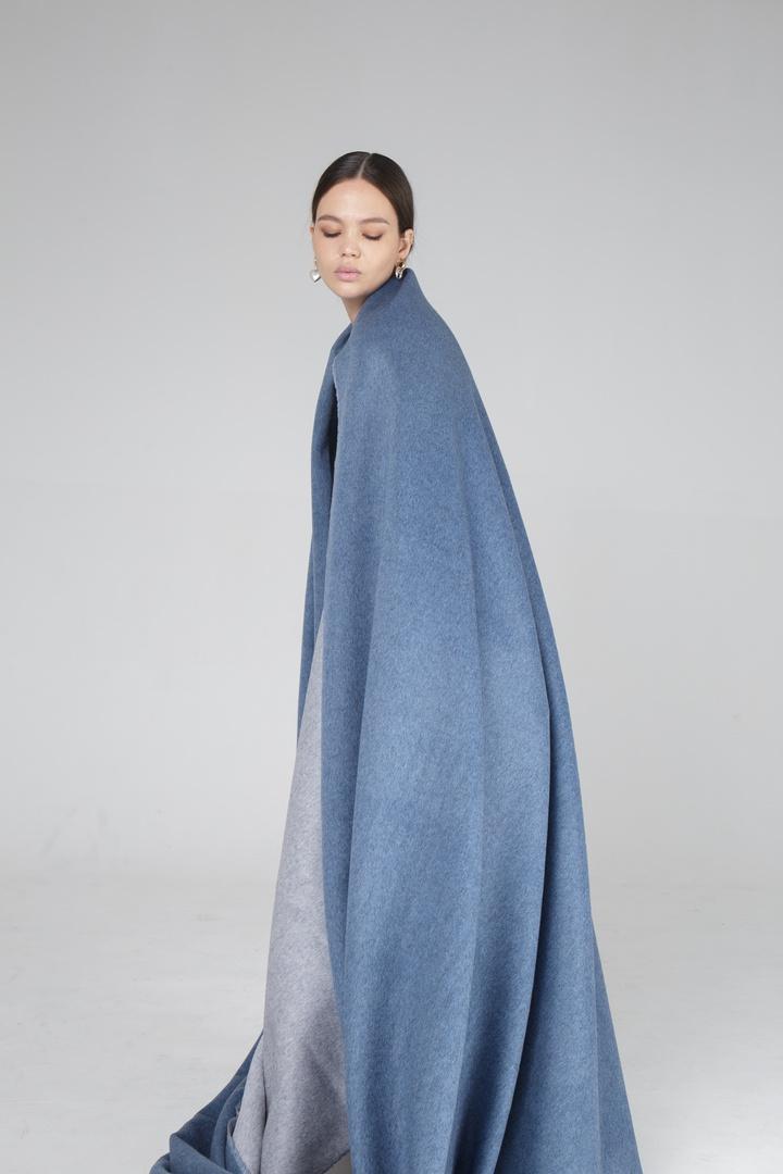 Пальтовая, (двухслойная) серо-синий