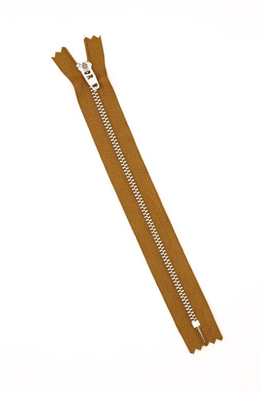Молния металлическая, светло-коричневая 20 см