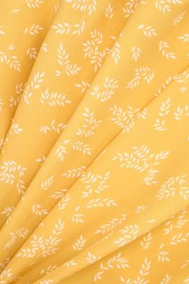 Плательная вискоза, веточки на желтом