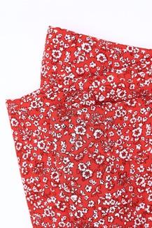 Плательная вискоза, цветы на красном