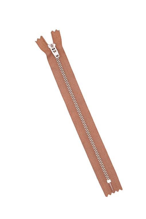 Молния металлическая, тёплый бежевый 20 см