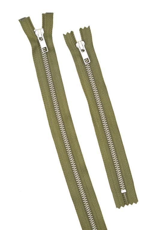 Молния металлическая, зелёная 20 см